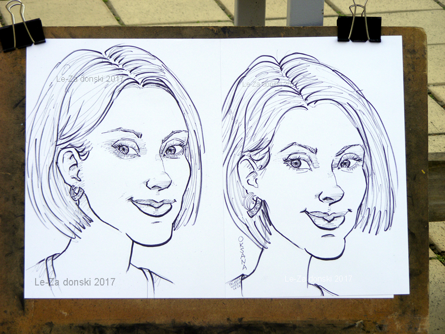 "Two portrait-caricatures of ""Oksana & the same Oksana again"", life drawing from a live model"