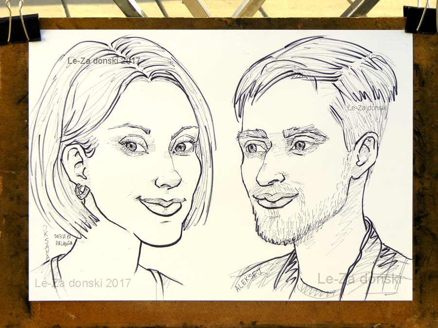 "Portrait-caricature of ""Oksana & Aleksej"", life drawing from a live models"