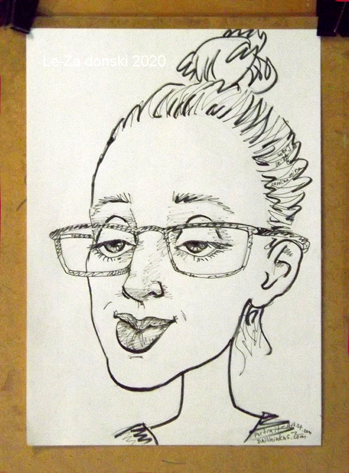 """Portrait-caricature of """"Carolina"""", life drawing from a web model; ink, paper"""